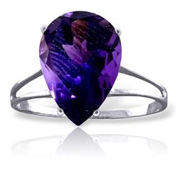 Genuine 5 ctw Amethyst Ring Jewelry 14KT White Gold - GG#1999 - REF#34R3P