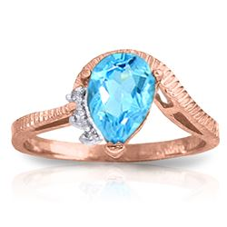 Genuine 1.52 ctw Blue Topaz & Diamond Ring Jewelry 14KT Rose Gold - GG#1185 - REF#51Y4F
