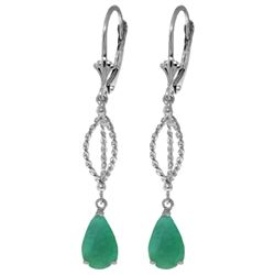 Genuine 2 ctw Emerald Earrings Jewelry 14KT White Gold - GG#4276 - REF#63V3W