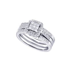 0.35 CTW Diamond Bridal Set Ring 14KT White Gold - GD44461-REF#90H2W
