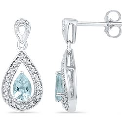 0.6 CTW Aquamarine & Diamond Earrings 10KT White Gold - GD100670-REF#30K4R