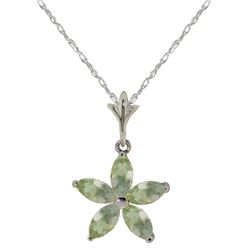 Genuine 1.4 ctw Green Amethyst Necklace Jewelry 14KT White Gold - GG#2909 - REF#25N8R
