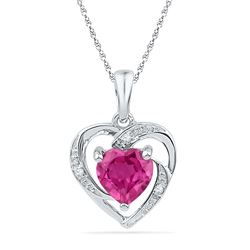 1.01 CTW Ruby & Diamond Pendant 10KT White Gold - GD106482-REF#6A3X