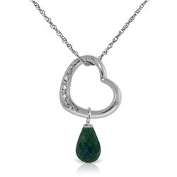 Genuine 3.33 ctw Emerald & Diamond Necklace Jewelry 14KT White Gold - GG#5413 - REF#46W2Y
