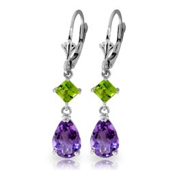 Genuine 4.5 ctw Amethyst & Peridot Earrings Jewelry 14KT White Gold - GG#1434 - REF#41W4Y