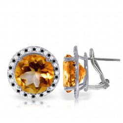 Genuine 12.4 ctw Citrine, White & Black Diamond Earrings Jewelry 14KT White Gold - GG#5217 - REF#124