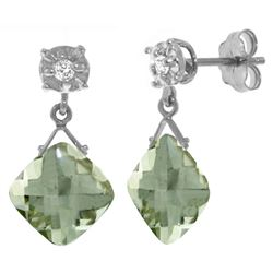 Genuine 17.56 ctw Green Amethyst & Diamond Earrings Jewelry 14KT White Gold - GG#3870 - REF#48W3Y