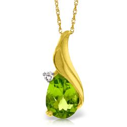 Genuine 2.03 ctw Peridot & Diamond Necklace Jewelry 14KT Yellow Gold - GG#5142 - REF#35A9K