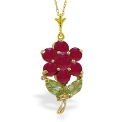 Genuine 1.06 ctw Peridot & Ruby Necklace Jewelry 14KT Yellow Gold - GG#4821 - REF#28W2Y