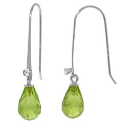 Genuine 1.38 ctw Peridot & Diamond Earrings Jewelry 14KT White Gold - GG#2877 - REF#14X6M