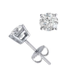 14K White Gold Jewelry 1.0 ctw Natural Diamond Stud Earrings - WJA1221 - REF#121K9R