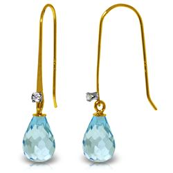 Genuine 1.38 ctw Blue Topaz & Diamond Earrings Jewelry 14KT Yellow Gold - GG#2881 - REF#14W6Y
