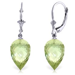 Genuine 19 ctw Green Amethyst Earrings Jewelry 14KT White Gold - GG#4649 - REF#35K9V