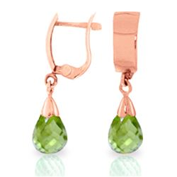 Genuine 2.5 ctw Peridot Earrings Jewelry 14KT Rose Gold - GG#1450 - REF#22M3T
