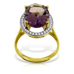 Genuine 5.28 ctw Amethyst & Diamond Ring Jewelry 14KT Yellow Gold - GG#4869 - REF#83A3K