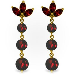 Genuine 8.7 ctw Garnet Earrings Jewelry 14KT Yellow Gold - GG#2716 - REF#53N6R