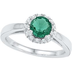 1.05 CTW Emerald & Diamond Ladies Ring 10KT White Gold - GD103761-REF#23N3S