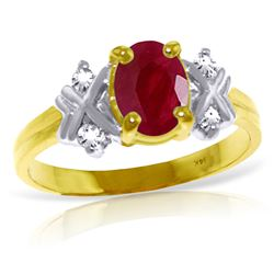 Genuine 1.47 ctw Ruby & Diamond Ring Jewelry 14KT Yellow Gold - GG#4598 - REF#63Z2N