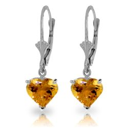 Genuine 3.05 ctw Citrine Earrings Jewelry 14KT White Gold - GG#1818 - REF#29P7H