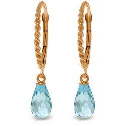 Genuine 3 ctw Blue Topaz Earrings Jewelry 14KT Rose Gold - GG#3082 - REF#24F3Z