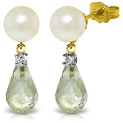 Genuine 6.6 ctw Green Amethyst, Pearl & Diamond Earrings Jewelry 14KT Yellow Gold - GG#3260 - REF#27