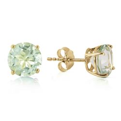 Genuine 3.1 ctw Green Amethyst Earrings Jewelry 14KT Yellow Gold - GG#2587 - REF#23P9H