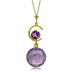 Genuine 5.8 ctw Amethyst Necklace Jewelry 14KT Yellow Gold - GG#4509 - REF#25N9R
