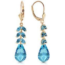 Genuine 11.2 ctw Blue Topaz Earrings Jewelry 14KT Yellow Gold - GG#4469 - REF#56X2M