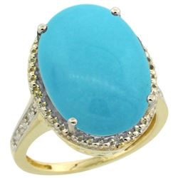 Natural 13.6 ctw Turquoise & Diamond Engagement Ring 14K Yellow Gold - SC#CY418108 - REF#96K7M