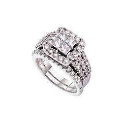 3 CTW Diamond Bridal Set Ring 14KT White Gold - GD52538-REF#485W8G