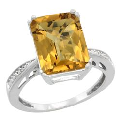 Natural 5.42 ctw Whisky-quartz & Diamond Engagement Ring 10K White Gold - SC#CW926149 - REF#48P3Z