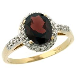 Natural 1.3 ctw Garnet & Diamond Engagement Ring 10K Yellow Gold - SC#CY910137 - REF#22Z9W