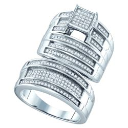 0.62 CTW Diamond Trio Set Ring White Rhodium Silver - GD63029-REF#62W5G