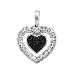 0.2 CTW Black Diamond Pendant 10KT White Gold - GD65033-REF#23Y3Z