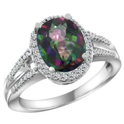 Natural 2.72 ctw mystic-topaz & Diamond Engagement Ring 14K White Gold - SC#CW408174 - REF#47Z3W