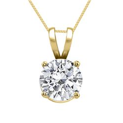 14K Yellow Gold Jewelry 1.0 ct Natural Diamond Solitaire Necklace - WJA1121  - REF#266A8N