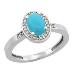 Natural 1.08 ctw Turquoise & Diamond Engagement Ring 10K White Gold - SC#CW918150 - REF#23T5H
