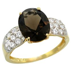 Natural 2.75 ctw smoky-topaz & Diamond Engagement Ring 14K Yellow Gold - SC#R289771Y07 - REF#50H8N