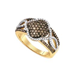 0.62 CTW White & Cognac Diamond Ladies Ring 10KT Yellow Gold - GD81626-REF#53H9W