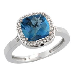Natural 3.94 ctw London-blue-topaz & Diamond Engagement Ring 14K White Gold - SC#CW405151 - REF#33Z7