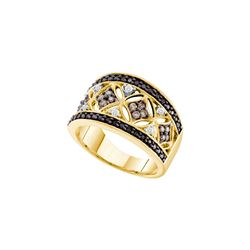 0.5 CTW White & Cognac Diamond Ladies Ring 14KT Yellow Gold - GD53611-REF#58T4K