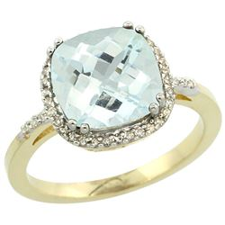 Natural 3.11 ctw Aquamarine & Diamond Engagement Ring 10K Yellow Gold - SC#CY912121 - REF#44X4R