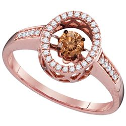 0.35 CTW White & Cognac Diamond Ladies Ring 10KT Rose Gold - GD110225-REF#62A9X