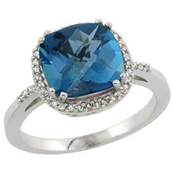 Natural 4.11 ctw London-blue-topaz & Diamond Engagement Ring 10K White Gold - SC#CW905121 - REF#30Y9