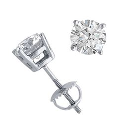 14K White Gold Jewelry 1.50 ctw Natural Diamond Stud Earrings - WJA1251  - REF#374Y9X