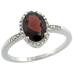 Natural 1.2 ctw Garnet & Diamond Engagement Ring 10K White Gold - SC#CW910113 - REF#15T3H