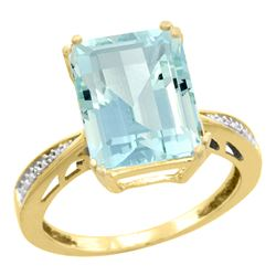 Natural 5.42 ctw Aquamarine & Diamond Engagement Ring 10K Yellow Gold - SC#CY912149 - REF#78Y3K