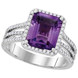 2.85 CTW Amethyst & Diamond Ladies Ring 14KT White Gold - GD104990-REF#125K9R