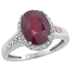 Natural 2.49 ctw Ruby & Diamond Engagement Ring 14K White Gold - SC#CW414109 - REF#40R8F