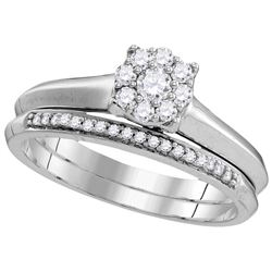 0.33 CTW Diamond Bridal Set Ring 10KT White Gold - GD109776-REF#40R5H